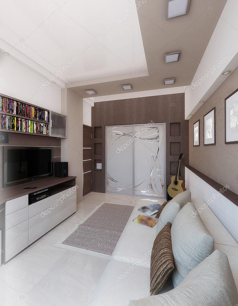 Young Man Bedroom, Interior Design, Render 3D U2014 Stock Photo