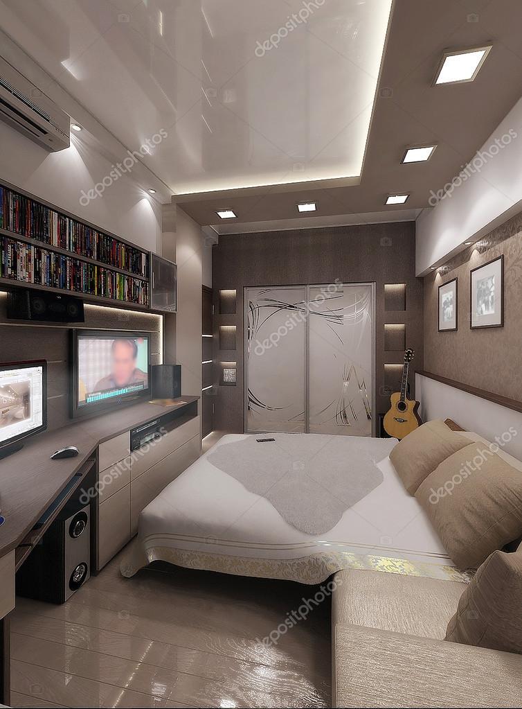 Junger Mann Schlafzimmer, Innenausbau, 3d Render U2014 Stockfoto.  Minimalistische Innenarchitektur Ideen.