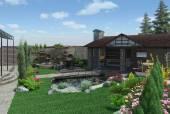 Fotografia Laghetto decorativo e padiglione del giardino, modific il terrenoare 3d rendering