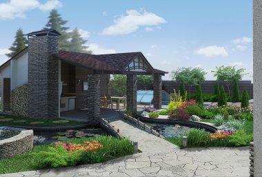 Landscaping decorative pond and garden pavilion, 3D render