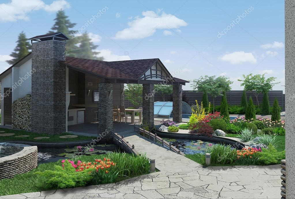 Landscaping decorative pond and garden pavilion, 3D render