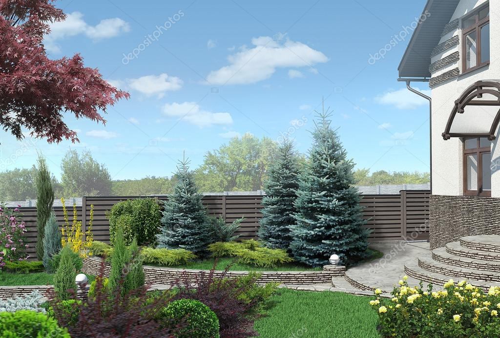 Front yard panorama plant groupings, landscaping 3D render