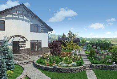 Front yard landscape design, 3D render