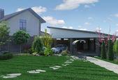 Fotografie Landschaftsgestaltung Gartenpanorama, 3D-Render