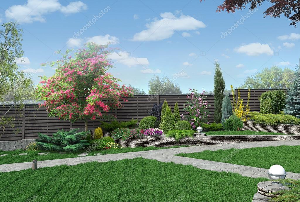 Example of multi level gardening, 3D render