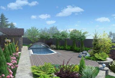 Arrangement patio living space, 3D render