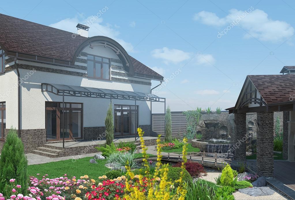 Landscaping backyard entertaining, 3D render