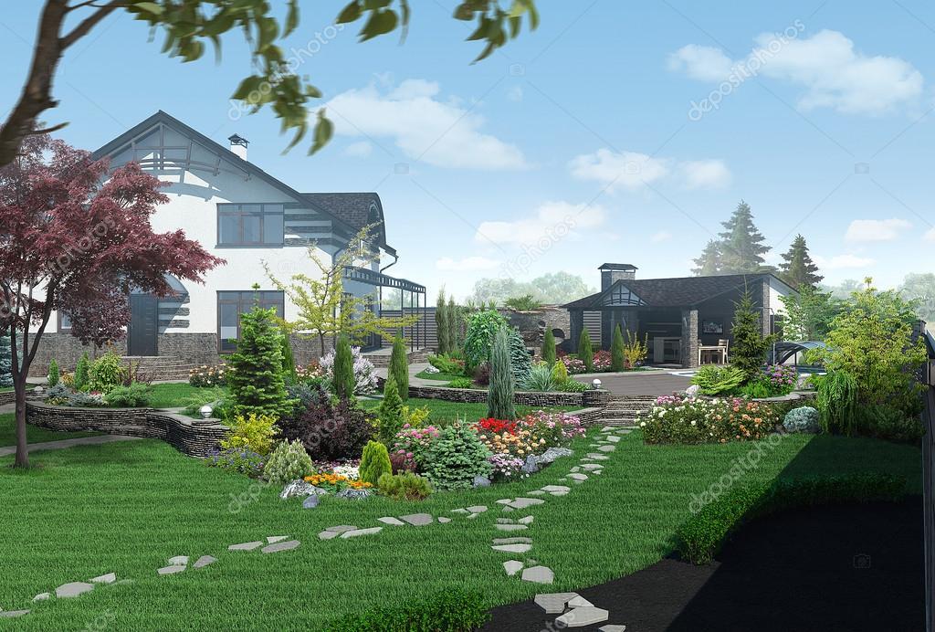 Landscaping garden panorama, 3D render