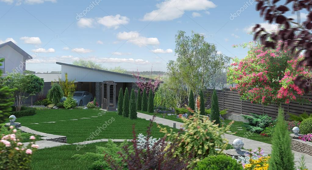 Marvelous Landscaping Garden Alley, 3D Render U2014 Stock Photo
