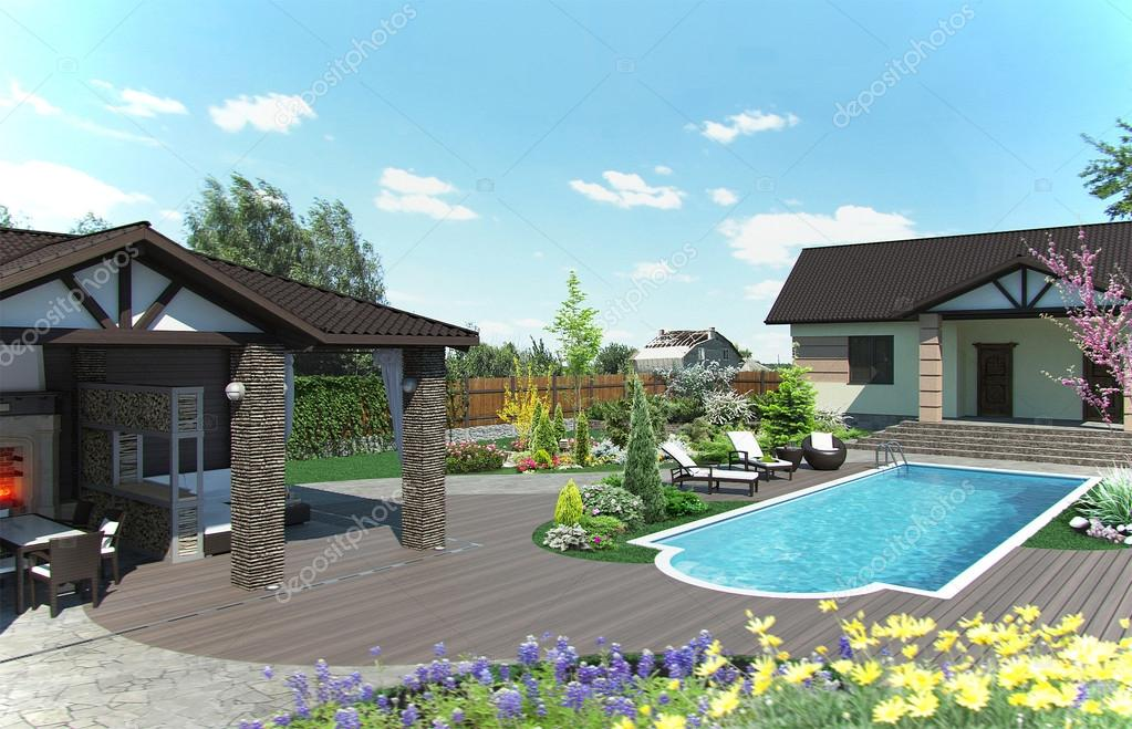 Arrangement patio living space, 3d render