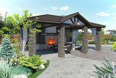 Fotografia Padiglione del giardino patio esterno, rendering 3d