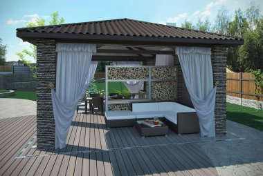 Outdoor patio garden pavilion, 3d render