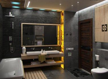 Bathroom minimalist interior design, render 3D