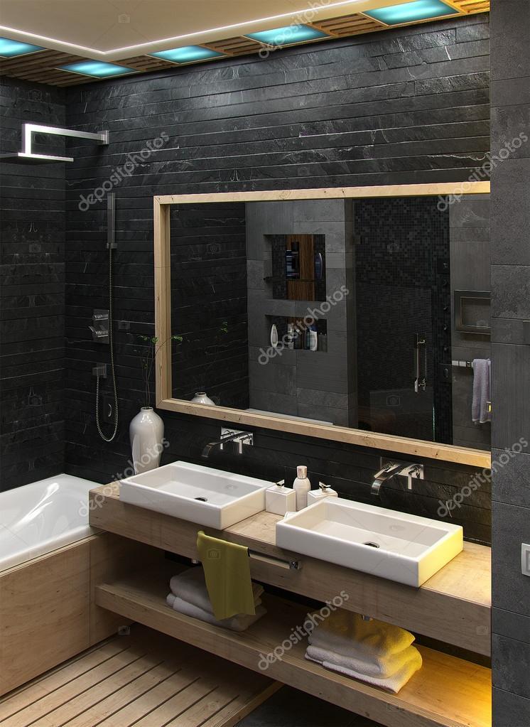 Banheiro design de interior minimalista render 3d for Design minimalista