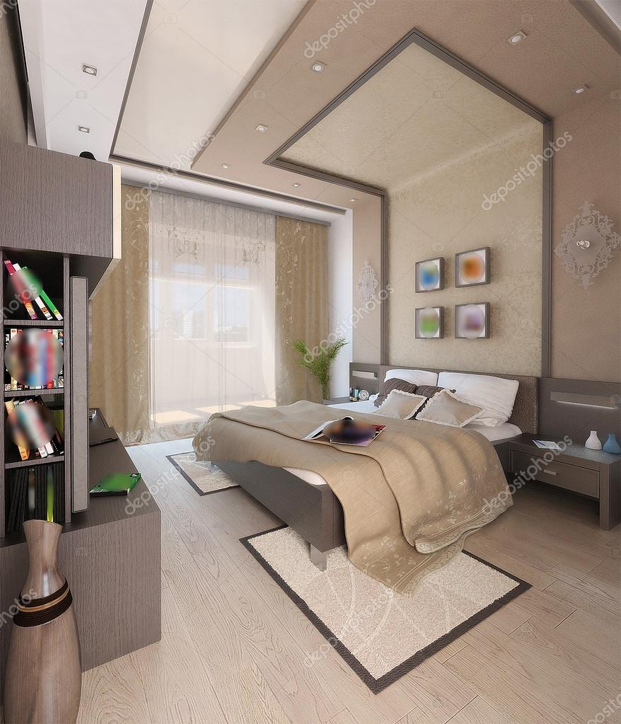 Bedroom Modern Style Interior Design 3d Render Stock