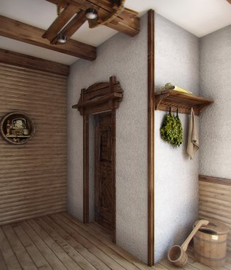 Country style bath house, 3D render