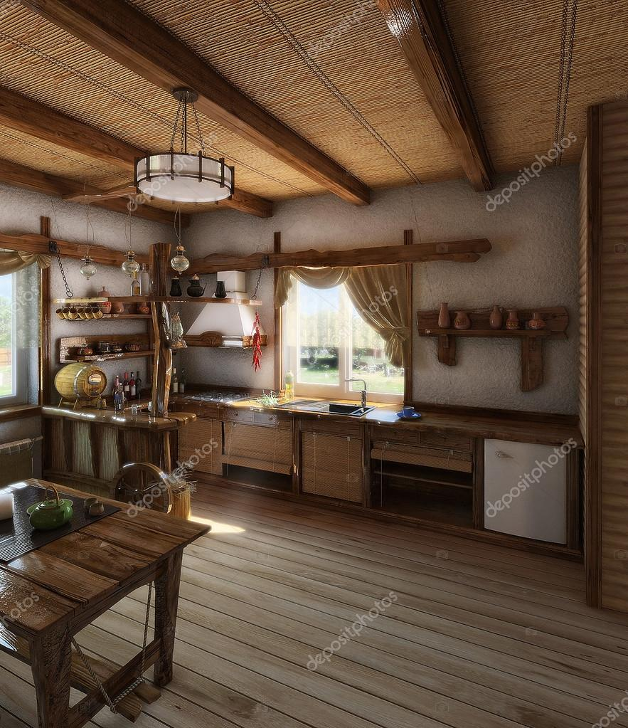 Country Style Kitchen Interior 3d Render Stock Photo Image By C Threedicube 97194222