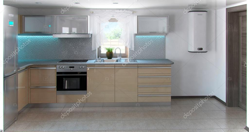 Minimalisme l vormige keuken interieur d render u stockfoto