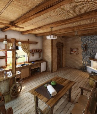 Country style kitchen interior, 3D render