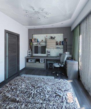 Modern bedroom interior design, 3d render