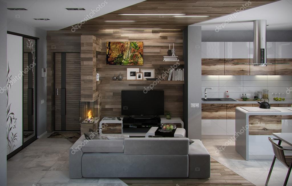 aprire concetto cucina e soggiorno render 3d foto stock
