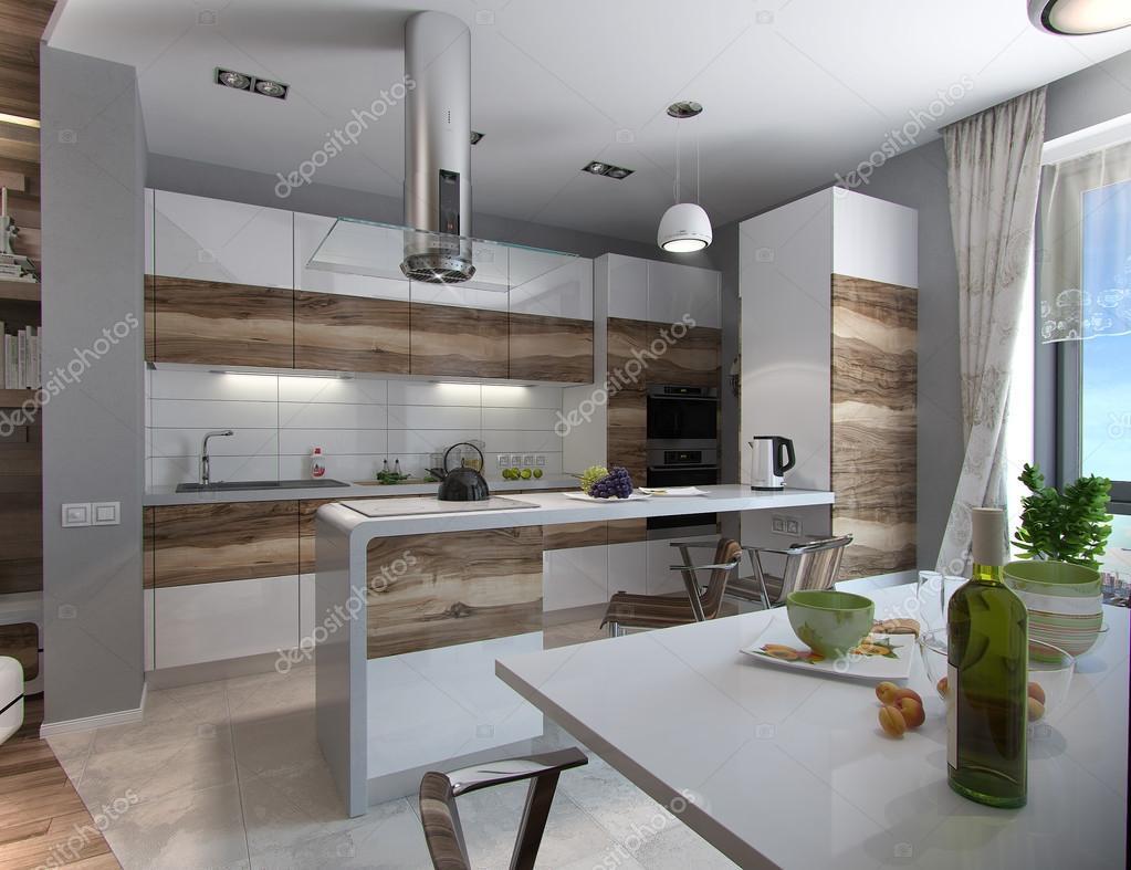 Estudo De Cozinha Moderna Render 3d Stock Photo Threedicube  -> Fotos De Cozinha Conceito Aberto