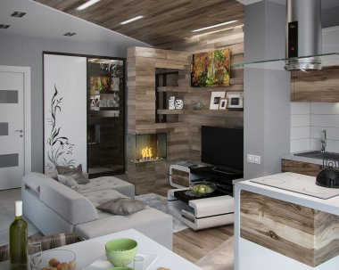 Open concept kitchen and living room, 3d render
