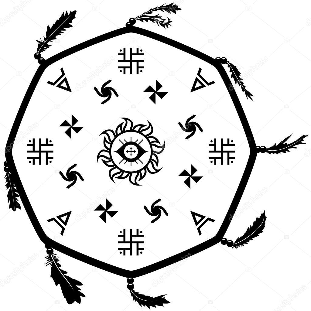 Шаман барабан, бубен с славянские знаки — векторное изображение.