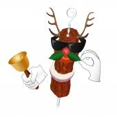 Kebab Reindeer with bell and holly berry