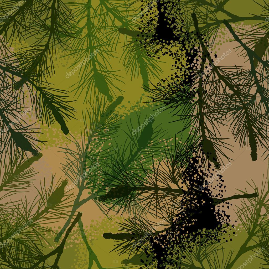 Verano de camuflaje de pino rama de patrones sin fisuras — Vector de ...