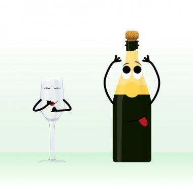 A glass and a bottle of champagne waiting for holiday illustration with a hint