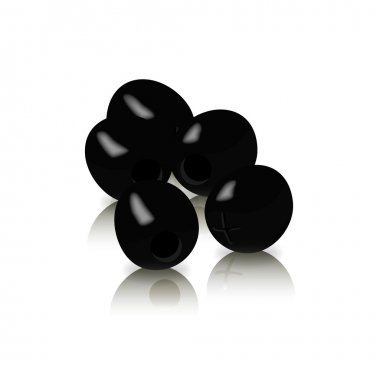 Vector black olives isolated on a white background