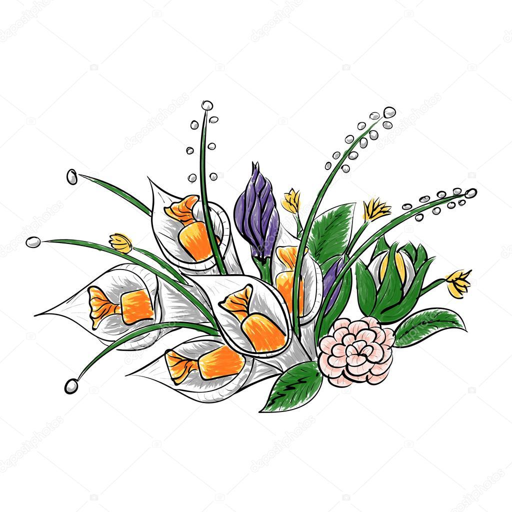 Main, dessin d'un bouquet de fleurs en papier avec ...