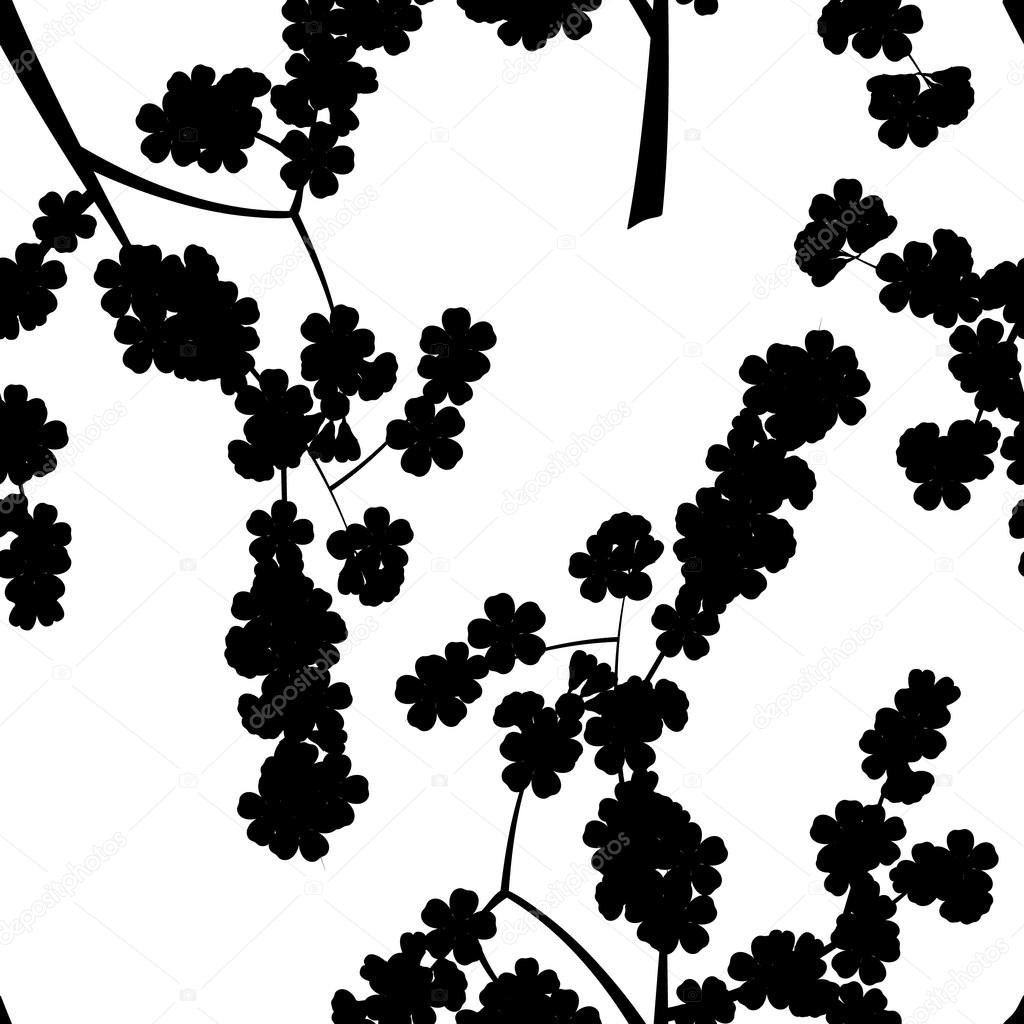 Seamless pattern with black cherry flowers