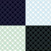 Fotografie Green and Blue Scales Seamless Pattern Set