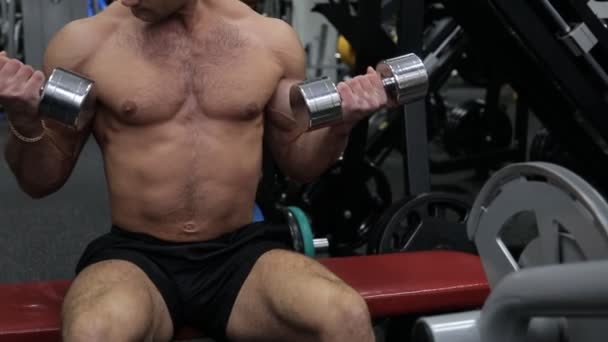 Athletic guy in the gym doing exercises with dumbbells