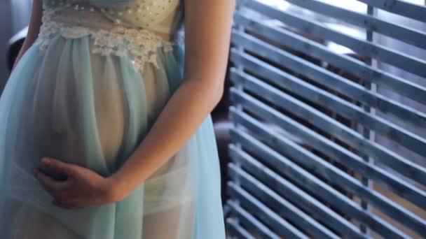 Těhotná žena v průhledných šatech stojí poblíž dřevěné příhradové