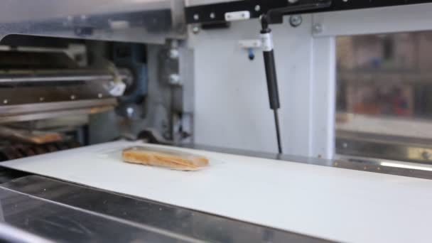 On conveyor pieces of bread packed in transparent packaging.
