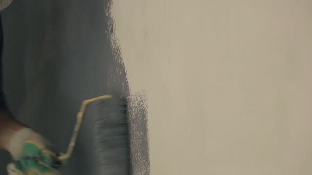 Mann Maler Malt Durch Fell Walze Grau Wandfarbe, Nahaufnahme U2014 Stockvideo