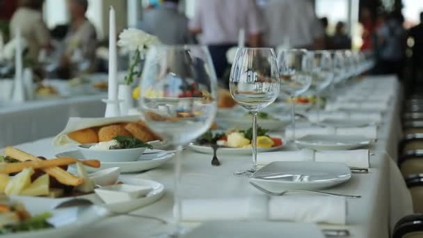 Close up view of served banquet table prepared for celebration.