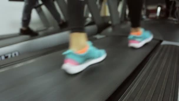 tělocvična, trénink na běžeckém pásu, dívka v její oblíbené tenisky přední zrcátka, je intenzivní na běžeckém pásu vedle trochu rychlejší tempo pohybu druhé noze sportovce