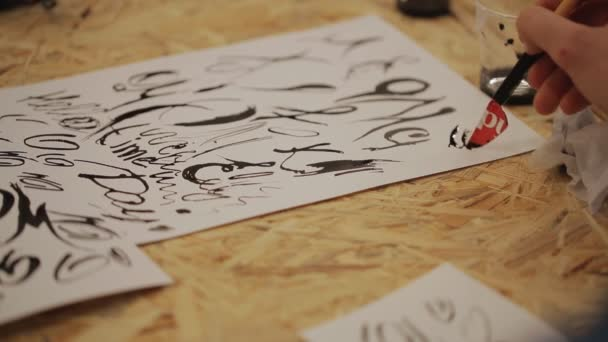 student training lettering pen on paper - letters, punctuation, symbols. handmade.