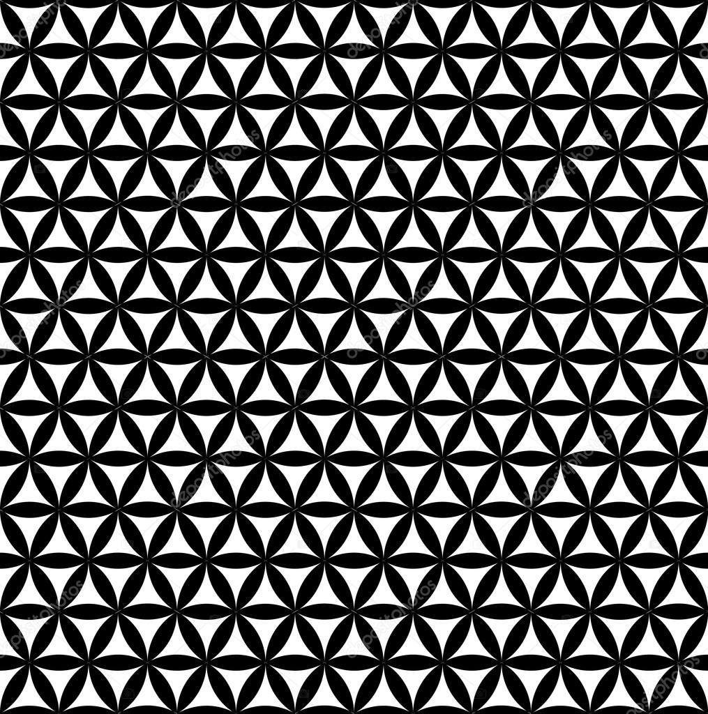 Black flower of life sacred geometric seamless background — Vector by ...