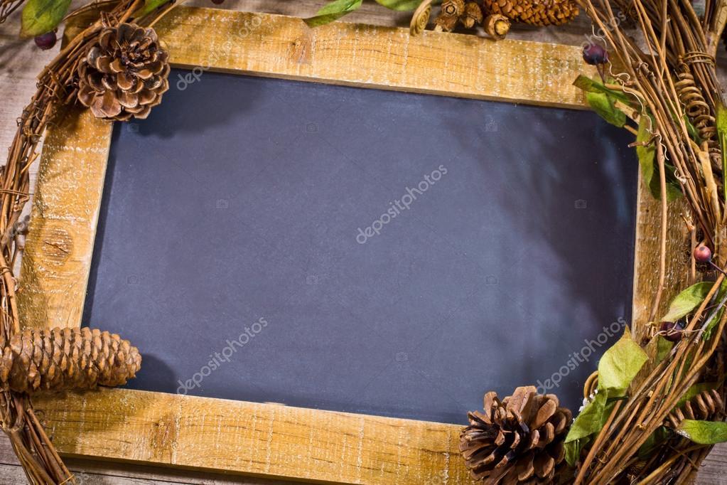 Virgin slate with decoration of christmas theme — Stock
