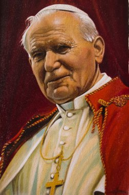 Painted image of Pope John Paul II