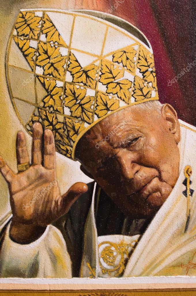 Painted image of Pope John Paul II