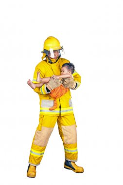 firefighter, fireman rescued the child from the fire, isolated o
