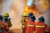Hasiči, školení, The zaměstnance roční školení požární bojuje. w: