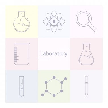 Set of science icons. Chemical tools and utensils. Laboratory equipment. Chemical test tubes icons. Research and science. Vector Illustration, graphic elements for design. stock vector