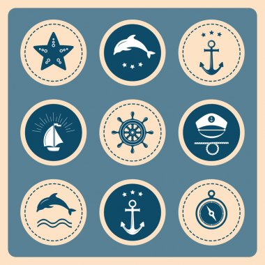 Nautical and sea icons, badges and labels.